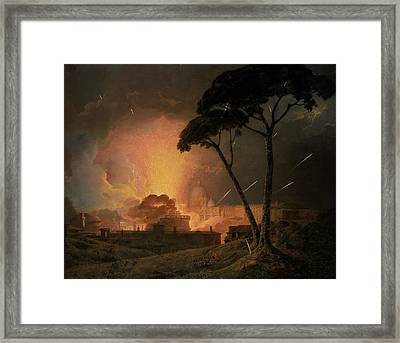 The Annual Girandola At The Castel Sant'angelo, Rome Framed Print by Joseph Wright