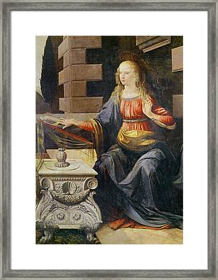 The Annunciation   Detail Of The Virgin Framed Print by Leonardo Da Vinci