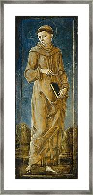 The Annunciation With Saint Francis And Saint Louis Of Toulouse  Framed Print by Cosme Tura