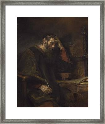 The Apostle Paul Framed Print by Rembrandt Van Rijn