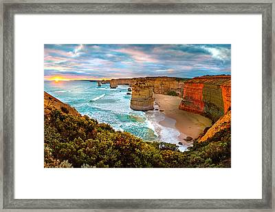 The Apostles Sunset Framed Print by Az Jackson