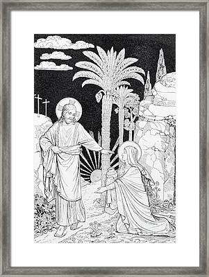 The Apparition Of The Lord To Mary Of Magdalen Lithography Framed Print