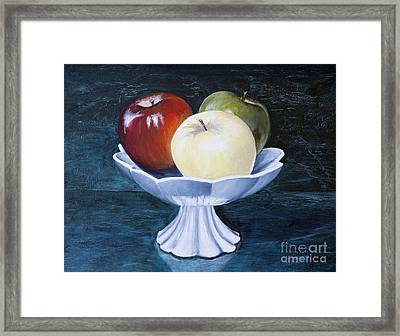 The Apple Dish Framed Print by Dinny Madill