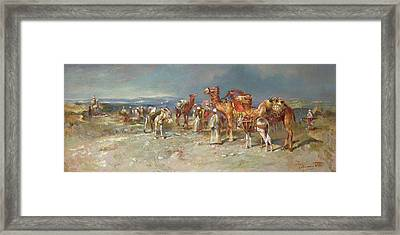 The Arab Caravan   Framed Print by Italian School