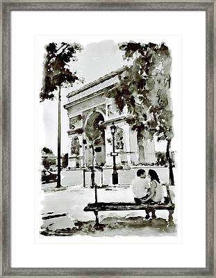 The Arc De Triomphe Paris Black And White Framed Print