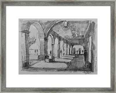 The Arcade, San Miguel De Allende Framed Print by Jack Hannula