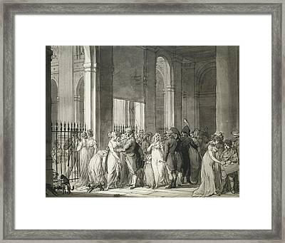 The Arcades At The Palais Royal Framed Print by Louis Leopold Boilly
