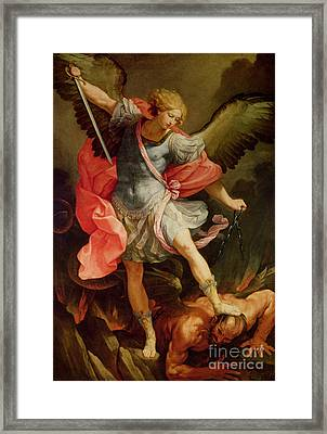 The Archangel Michael Defeating Satan Framed Print by Guido Reni