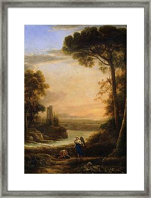 The Archangel Raphael And Tobias Framed Print by Claude Lorrain