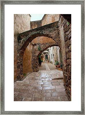 The Archways Of Villecroz Framed Print by Jacqi Elmslie