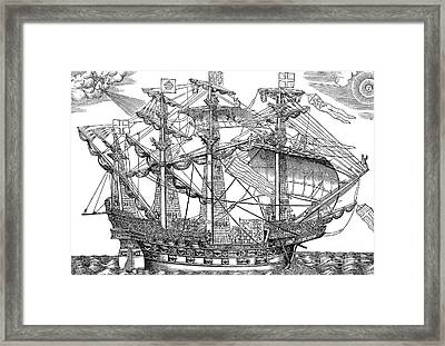 The Ark Raleigh, The Flagship Of The English Fleet Framed Print by English School