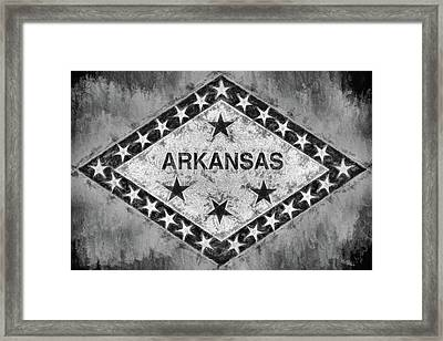 The Arkansas State Flag In Black And White Framed Print by JC Findley