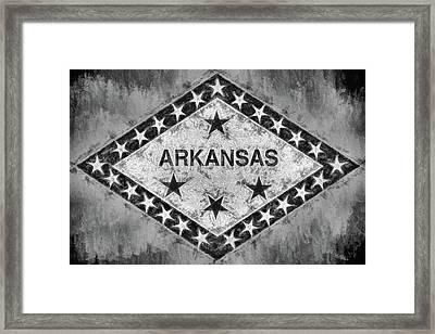The Arkansas State Flag In Black And White Framed Print