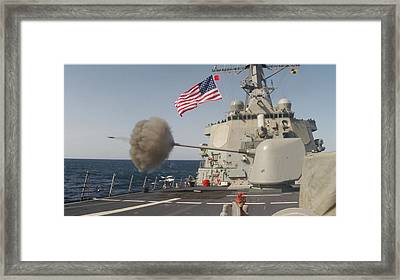 The Arleigh-burke Class Guided-missile Destroyer Uss Curtis Wilbur Framed Print by Celestial Images