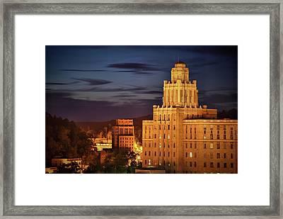 The Arlington Hotel At Night - Hot Springs Arkansas - Cityscape View Framed Print by Gregory Ballos