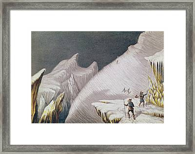 The Arrival At The Summit  The Ascent Of Mont Blanc  Framed Print by George Baxter