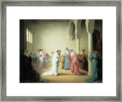 The Arrival Into The Harem At Constantinople Framed Print by Henriette Browne