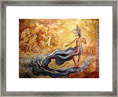 The Arrival Of The Goddess Of Consciousness Framed Print by Darwin Leon