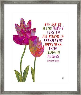 Framed Print featuring the painting The Art Of Being Happy by Lisa Weedn