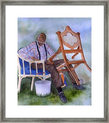 The Art Of Caning Framed Print by Jean Blackmer
