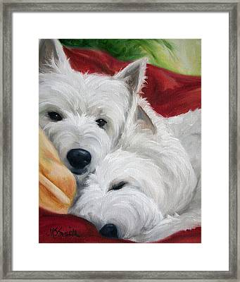 The Art Of Snuggling Framed Print by Mary Sparrow