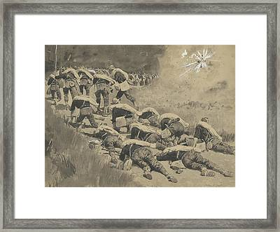 The Artful Dodgers  Shrapnel Coming Down The Road Framed Print by Frederic Remington