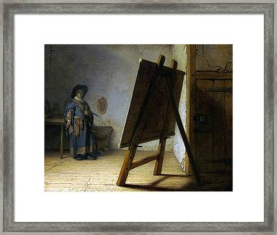 The Artist In His Studio Framed Print by Rembrandt
