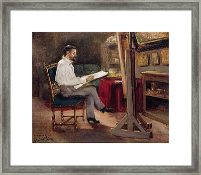 The Artist Morot In His Studio Framed Print by Gustave Caillebotte
