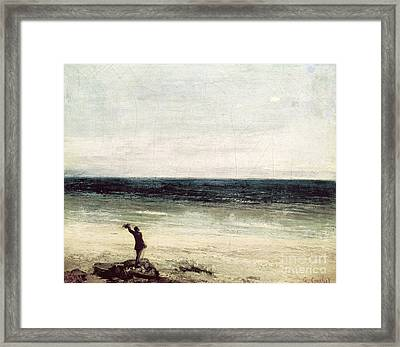 The Artist On The Seashore At Palavas Framed Print by Gustave Courbet