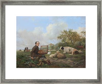 The Artist Painting A Cow In A Meadow Landscape Framed Print by Hendrik van de Sande Bakhuyzen