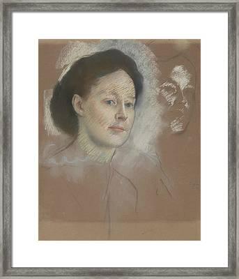 The Artist's Cousin, Probably Mrs. William Bell Framed Print by Edgar Degas
