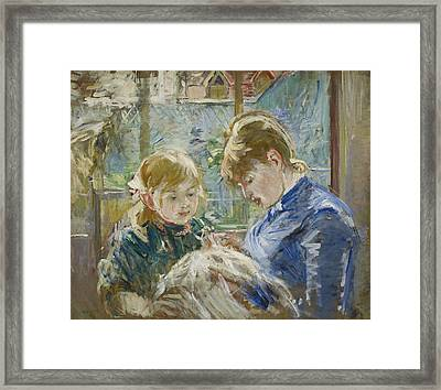 The Artist's Daughter, Julie, With Her Nanny Framed Print by Berthe Morisot