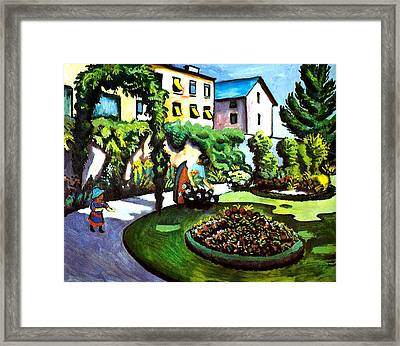 The Artists Garden In Bonn Framed Print by August Macke