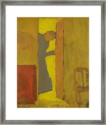 The Artist's Mother Opening A Door Framed Print