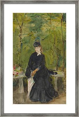 The Artist's Sister Edma Seated In A Park Framed Print by Berthe Morisot