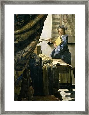 The Artists Studio Framed Print by Jan Vermeer