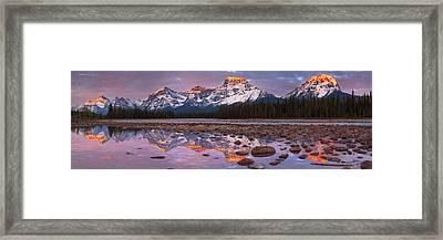The Athabasca River And Mount Fryatt Framed Print