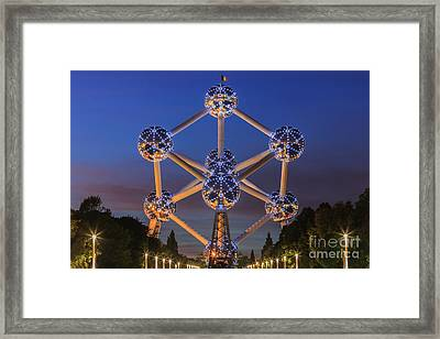 The Atomium In Brussels During Blue Hour Framed Print