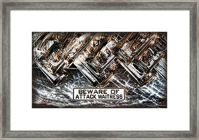 The Attack Waitress  Framed Print by Joan  Minchak