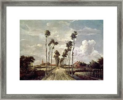 The Avenue At Middelharnis Framed Print by Meindert Hobbema
