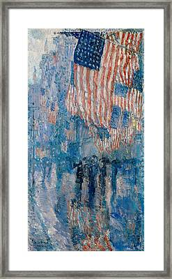 Framed Print featuring the painting The Avenue In The Rain - 1917 by Frederick Childe Hassam