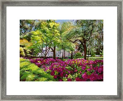 The Azaleas Of Savannah Framed Print by David Lloyd Glover