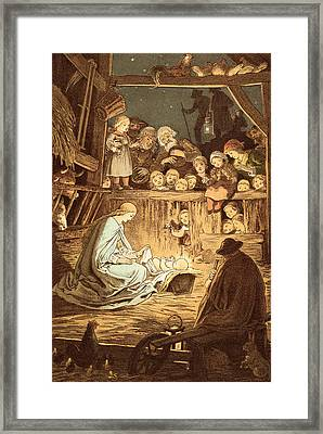 The Babe Lying In A Manger  Framed Print by Victor Paul Mohn