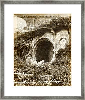 The Bag End Hobbit House Lord Of The Rings Tolkien Shire Illustration Framed Print by Jacob Kuch