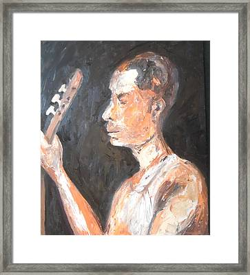 Framed Print featuring the painting The Baglama Player by Esther Newman-Cohen