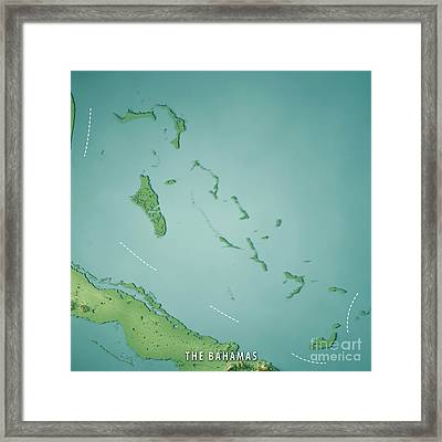 The Bahamas 3d Render Topographic Map Framed Print