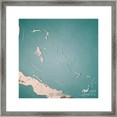 The Bahamas 3d Render Topographic Map Neutral Framed Print