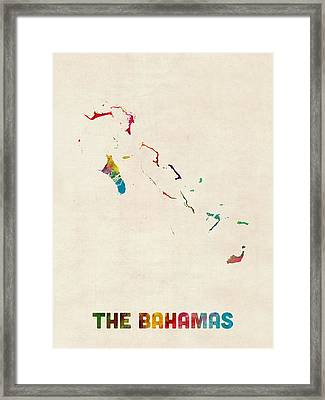 The Bahamas Watercolor Map Framed Print by Michael Tompsett
