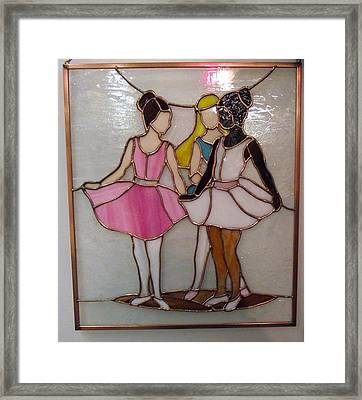 The Ballet Dancers In Stained Glass Framed Print by Arlene  Wright-Correll