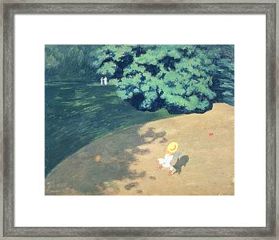 The Balloon Or Corner Of A Park With A Child Playing With A Balloon Framed Print